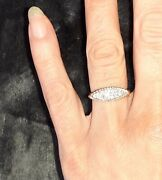 Vintage Crushed Diamond And Yellow Gold Boat Ring Small Size J