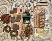Huge Lot - Vintage Leather Tools Craftool Punches Supplies Stamps Leather Scrap