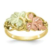 10k Tri Color Black Hills Gold Flower Band Ring Leaf Fine Jewelry Women Gifts