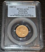 1887-s Australia Gold Half Sovereign Young Head Graded By Pcgs As Au53