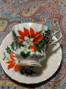 Queen Anne England Noel Swirl Holly Poinsettia Footed Cup Saucer Bone China