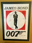 Rare James Bond 007 All 6 Actors Hand-signed Movie Poster