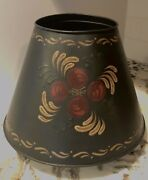 Exceptional Vintage Hand Painted Black Tole Heavy Metalware Lamp Shade