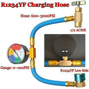 Car Air-conditioning Refrigerant Pressure R-1234yf Charging Hose With Gauge Kit