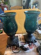 Pair Matching Crackled Hurricane Style Table Lamps Set Of Two Bronze Base
