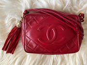 Vintage 80and039s 90and039s Red Lambskin Leather Camera Tassel Quilted Shoulder Bag