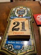 Vintage Old Style Beer Sign Calendar -1979 Embosograph Chicago - Free Shipping
