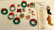 Vintage Dollhouse Miniature Christmas Lot 15+ Items Wreathes Cookies And Stockings