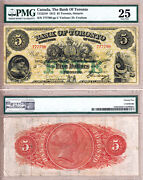 Rare Vf25 Finest Of 17 Known 1912 5 Bank Of Toronto Td Bank Large Size