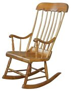 Antique Early American Country Farmhouse Pine Spindle Back Rocking Chair 42