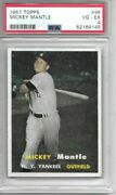 Mickey Mantle 1957 Topps Psa 4 Well Centered/just Graded/amazing Eye Appeal