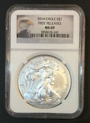 2014 Silver Eagle First Releases Ngc Ms69 Scratched Case Enn Coins 349pb