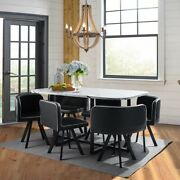 7 Pieces Dining Table Set 6 Leather Chairs For Kitchen Room Breakfast Dinner