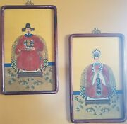 Pair Of Chinese Hand Painted Ancestral Watercolor Paintings On Silk Scrolls