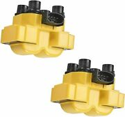 2 Fd487 Yellow Ignition Coil For 89-03 Ford Escort Zx2 Coupe 2-door 2.0l L4