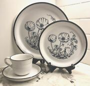 6 Place Settings Vintage Nitto Heather Stone Moon Flower 9802 Japan 24 Pieces