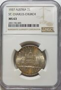 1937 Austria 2s Ngc Ms 63 St. Charles Church 2 Schillings Silver