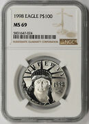 1998 Statue Of Liberty One-ounce Platinum American Eagle 100 Ms 69 Ngc 1 Oz