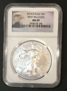 2014 Silver Eagle First Releases Ngc Ms69 Scratched Case- Enn Coins 348pb