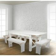 Hercules Series 7and039 X 40 Rustic White Folding Farm Table And Four Bench Se