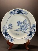 18th C. Antique Vtg Chinese Blue And White Hand Print Landscape Plate Qianlong