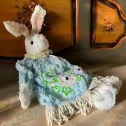Chenille Bunny Rabbit Plush French Country Primitive Easter Floral Blue