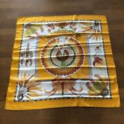 Hermes Scarf Stole Carre Brazil 100 Silk Wing Yellow Gold Vintage From Japan