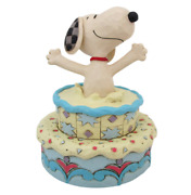 Peanuts Jim Shore Cute Surprise Snoopy Figure Pops Out Of Birthday Cake New