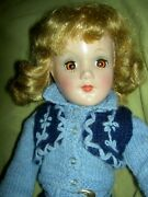 Gorgeous 1940s Vintage, Hard Plastic Signed Mary Hoyer Doll, Lovely Knit Outfit