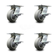 Heavy Duty Large Top Plate Thermo Rubber Flat Tread Swivel Caster Set 4 W/5