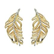 9ct Gold Feather Earrings In Yellow/white Gold Hallmark Elements Gold Ge2339