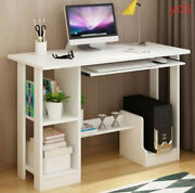 White Small Compact Computer Desk Home Office Study Writing Pc Table Workstation