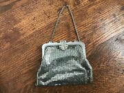 Vintage Silver Mesh Purse Chain Mail Maille Bag With Rhinestone Clasp