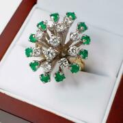 Custom Made Emerald And Diamond 14kt Gold Cocktail Ring 12.1gr Sz 5.75