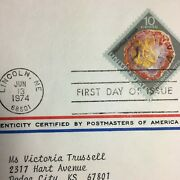 Vintage Stamp 1974 First Day Of Issue Petrified Wood Mineral Heritage Lincoln Ne