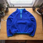 Vintage Ll Bean Snap T Fleece In Blue With Green Teal Accents Andbull Menandrsquos Tall Large