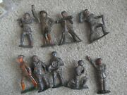 Lot Of 9 Vintage Barclay Cast Metal Toy Soldier Figures 3 1/8 Tall