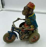 Vintage Arnold The Monkey On Trike Tricycle Tin Wind Up Toy German Us Zone
