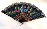 Vtg Folding Hand Held Fan Painted Silk Faux Tortoise Shell Frame Lace Signed