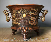 9 Marked Old China Red Copper Gold Elephant 2 Dragon Incense Burners Censer