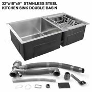 Stainless Steel Top Mount Kitchen Sink Double Bowl Basin 32 X 18 X 9
