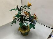 Antique Chinese Cloisonne Bronze Brass Flower Tree Planter With Jade Panels