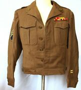 Wwii Us Army Ike Jacket 36r Uniform W 8th Army 24 Infantry Division 2 Caps
