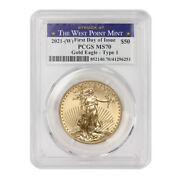 2021-w 50 Eagle Pcgs Ms70 First Day Of Issue Gold Coin W/ West Point Label
