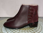Emu Australia Gladstone Wine Color Boot Womenand039s 9 Fringe Waterproof Leather New