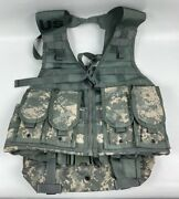 New Us Army Acu Fighting Load Carrier Bearing Vest W/ 4 Mag Pouches And Waist Pack