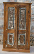 Rustic Carved Cabinet Vintage Armoire Whitewash Kitchen Cabinet Eclectic Boho