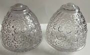 2 Clear Hobnail Hurricane Oil Round Ball Glass Lamp Shade Light Replacement