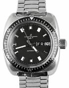Rare 1970and039s Vintage Ulysse Nardin Un Submarine Diver Stainless 800ft Black Watch