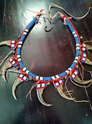 Plains Style Beaded Bear Claw Necklace